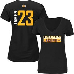 watch 02f0f 6e2a5 Majestic Women's Los Angeles Lakers LeBron James #23 Black V-Neck T-Shirt