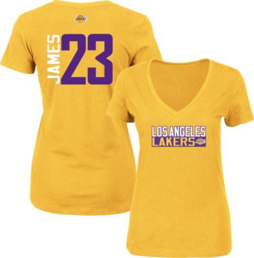 a816ea04d6f Majestic Women's Los Angeles Lakers LeBron James #23 Gold V-Neck T-Shirt.  noImageFound. Previous