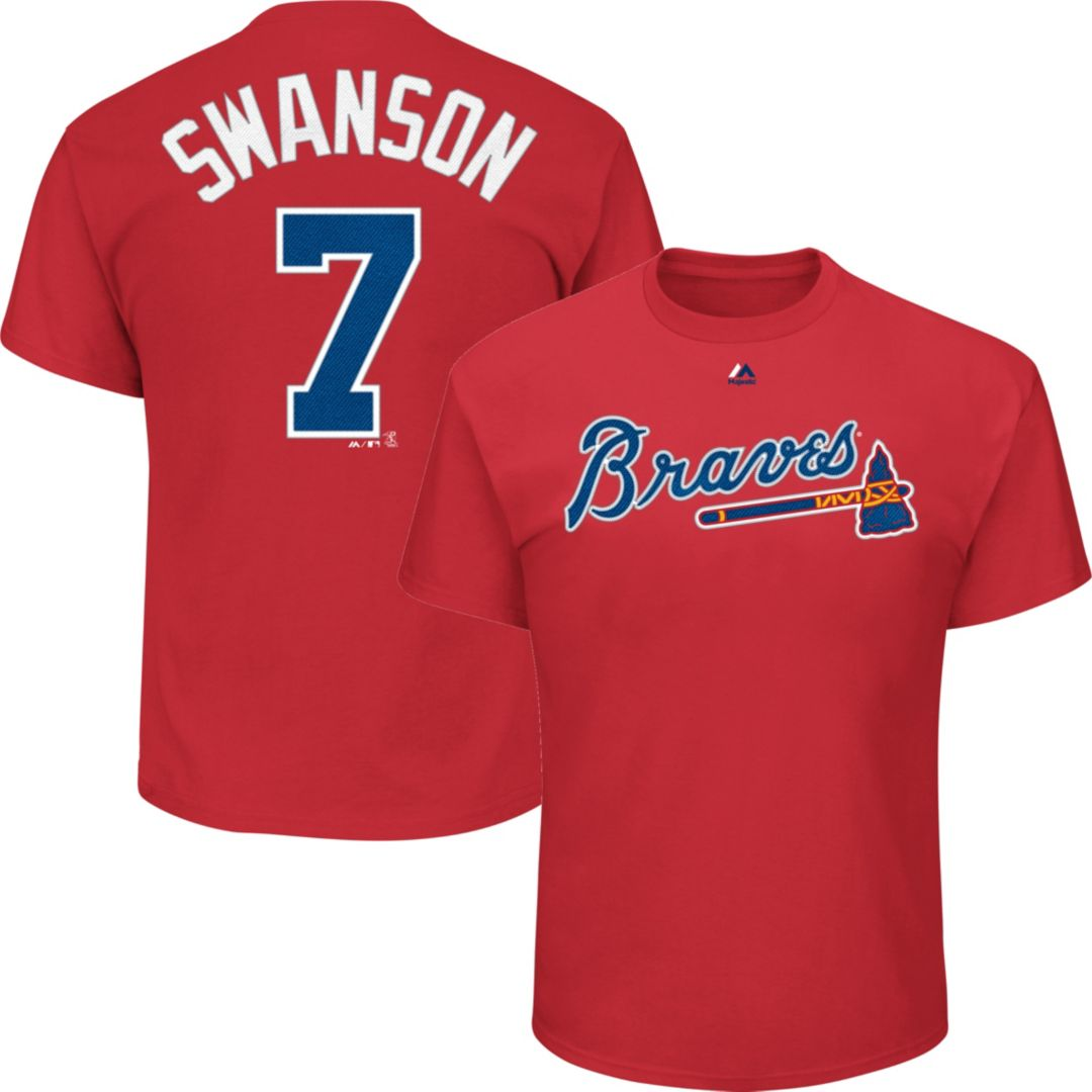 factory authentic 2ebb6 53683 Majestic Youth Atlanta Braves Dansby Swanson #7 Red T-Shirt