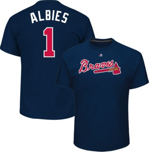 6f3668a9847 Majestic Youth Atlanta Braves Ozzie Albies  1 Navy T-Shirt