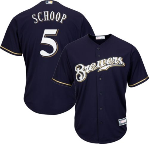 049c30df1f9 Youth Replica Milwaukee Brewers Jonathan Schoop #5 Alternate Navy Jersey.  noImageFound. Previous