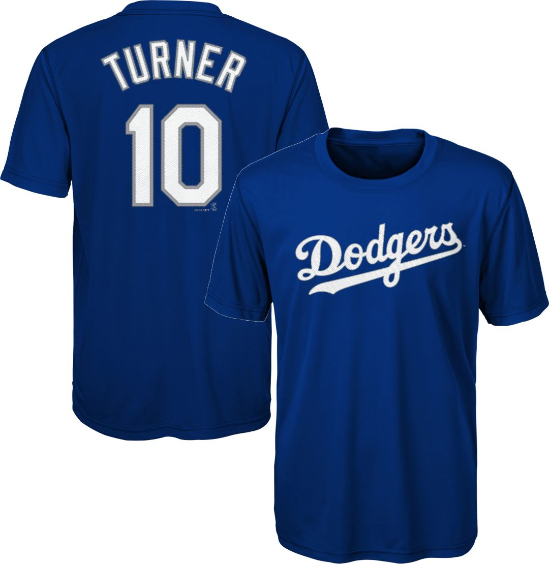 new style 88998 de0cf Majestic Youth Los Angeles Dodgers Justin Turner #10 Performance T-Shirt