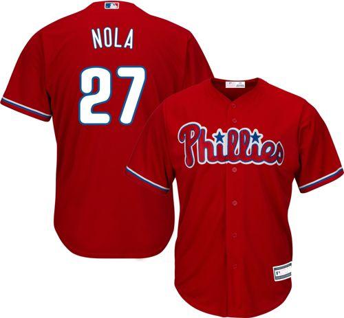 9997e70e9 Youth Replica Philadelphia Phillies Aaron Nola  27 Alternate Red ...