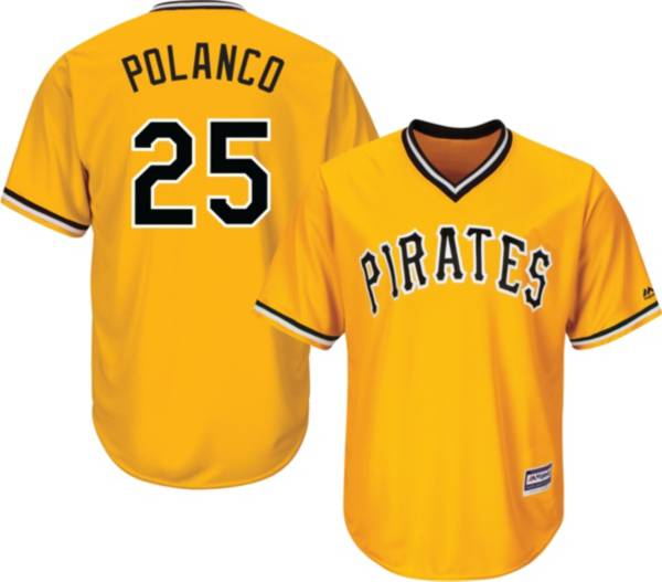Majestic Youth Replica Pittsburgh Pirates Gregory Polanco #25 Cool Base Alternate Gold Jersey product image