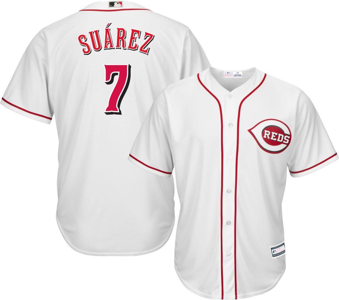 huge discount 4095d 96d72 Youth Replica Cincinnati Reds Eugenio Suarez #7 Home White Jersey