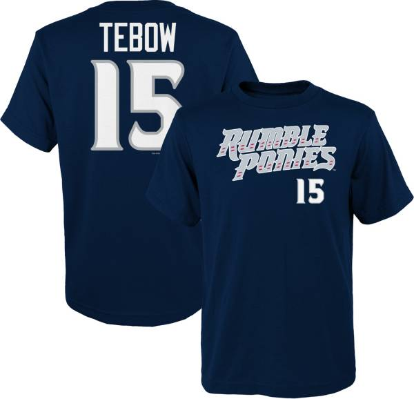 Majestic Youth Binghamton Rumble Ponies Tim Tebow #15 Navy T-Shirt product image