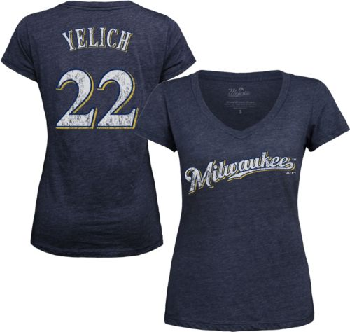 7979ed4a3 Majestic Threads Women s Milwaukee Brewers Christian Yelich V-Neck T-Shirt.  noImageFound. Previous