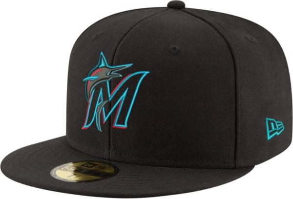 New Era Men's Miami Marlins 59Fifty Game Black Authentic Hat product image
