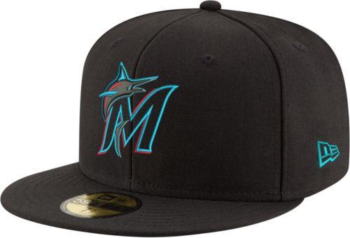 399f4febfa0 New Era Men s Miami Marlins 59Fifty Game Black Authentic Hat ...