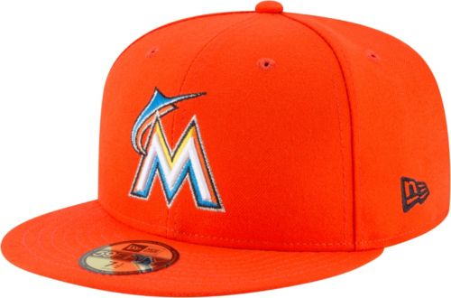 size 40 30b4b d0bd0 New Era Men s Miami Marlins 59Fifty Road Orange Authentic Hat.  noImageFound. Previous. 1. 2