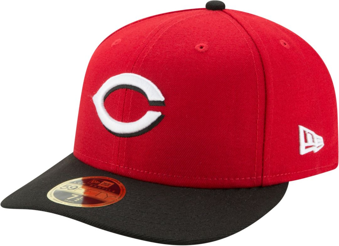 newest 4ea39 cccd5 New Era Men s Cincinnati Reds 59Fifty Road Red Low Crown Fitted Hat.  noImageFound. Previous. 1