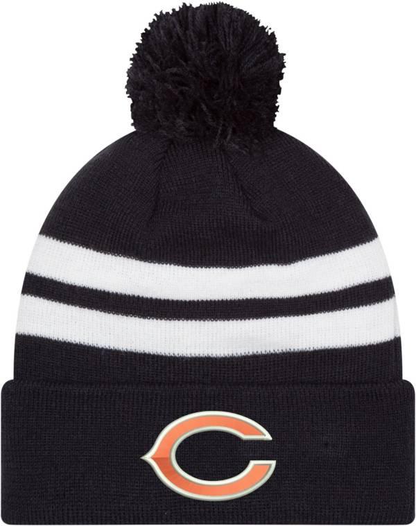 New Era Men's Chicago Bears Stripe Cuff Navy Pom Knit product image