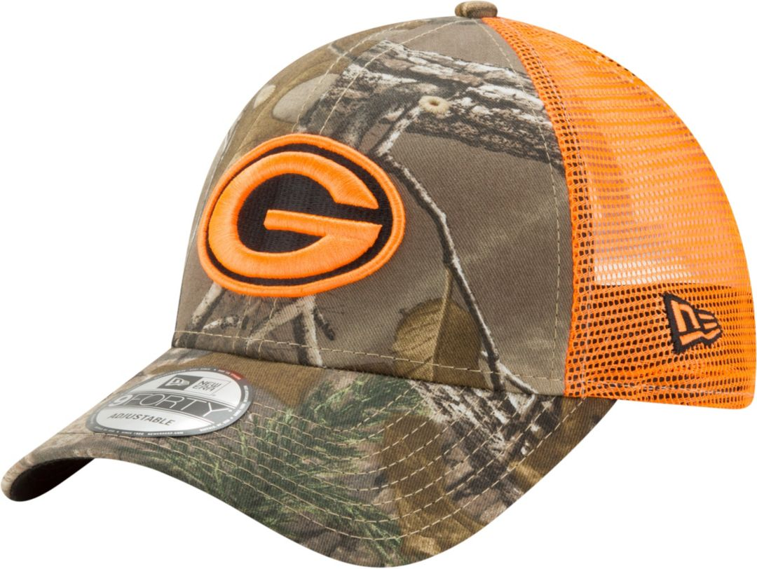 new style b4f86 33fc7 New Era Men s Green Bay Packers Real Tree 9Forty Orange Camo Adjustable  Trucker Hat. noImageFound. Previous. 1