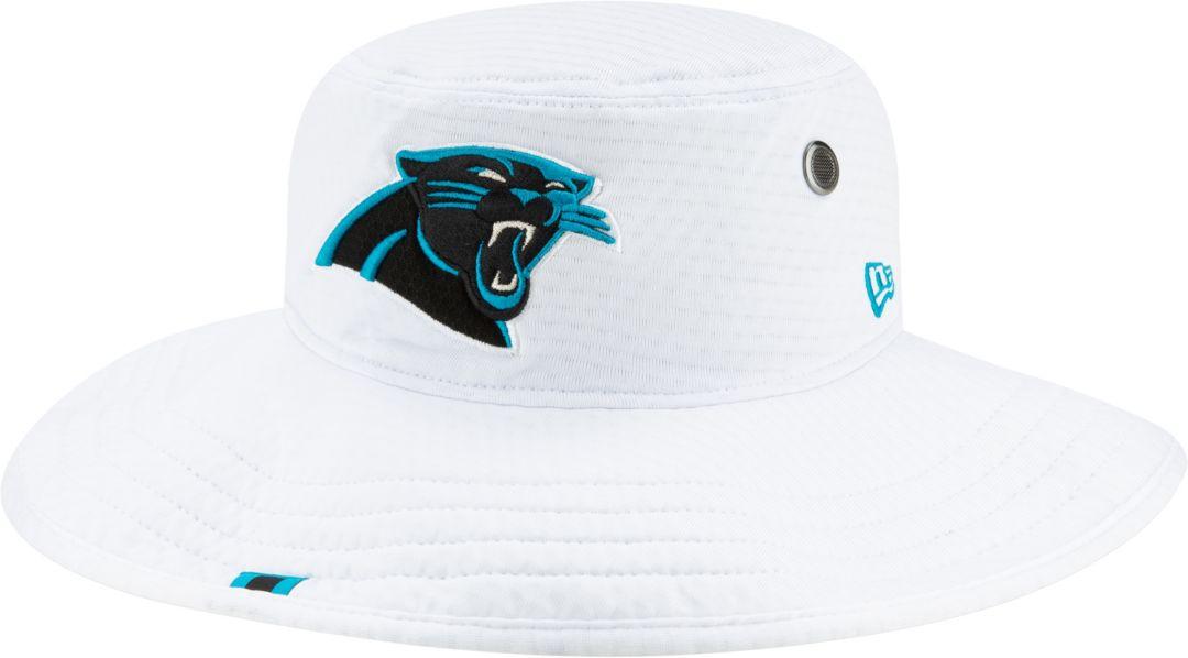 5273dcaa New Era Men's Carolina Panthers Sideline Training Camp Panama White Bucket  Hat