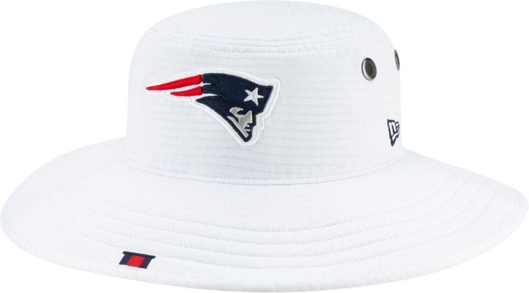 fcc543b213b4e New Era Men's New England Patriots Sideline Training Camp Panama White  Bucket Hat