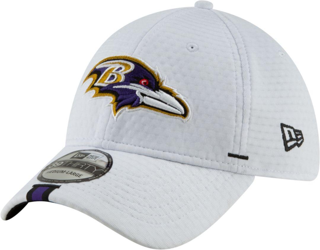06040721 New Era Men's Baltimore Ravens Sideline Training Camp 39Thirty Stretch Fit  White Hat