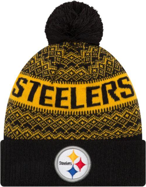 8197cd309 New Era Men s Pittsburgh Steelers Wintry Black Pom Knit