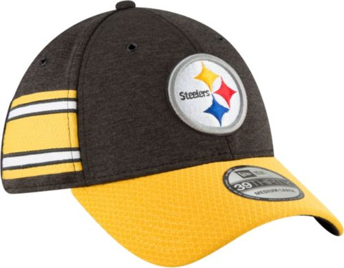 New Era Men s Pittsburgh Steelers Sideline Home 39Thirty Black Stretch Fit  Hat 441673f2ed7