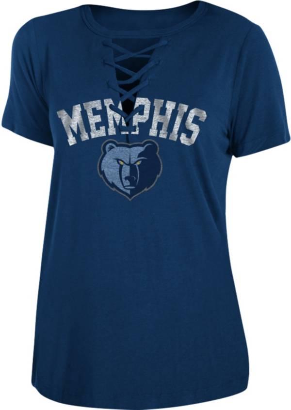 New Era Women's Memphis Grizzlies Lace-Up V-Neck T-Shirt product image
