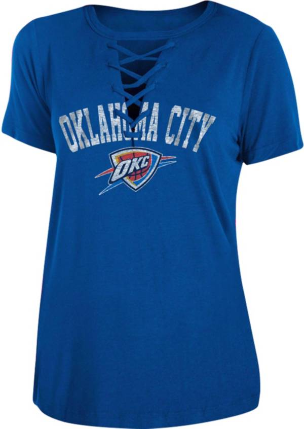 New Era Women's Oklahoma City Thunder Lace-Up V-Neck T-Shirt product image