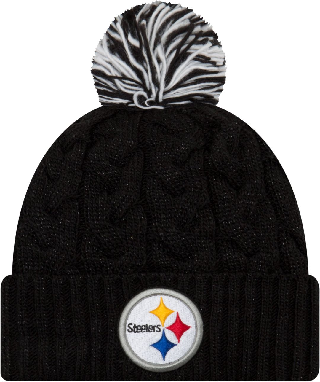e83cd12bc New Era Women's Pittsburgh Steelers Cozy Cable Black Pom Knit