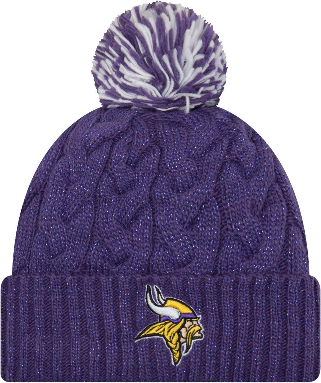 7135463cd New Era Women's Minnesota Vikings Cozy Cable Purple Pom Knit