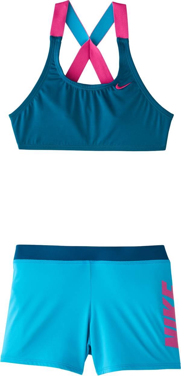 Nike Girls' Rift Prism Crossback Sport Bikini Top and Swim Shorts Set product image