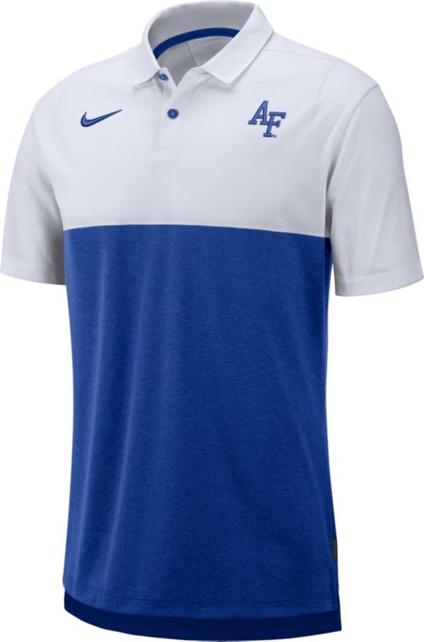 Nike Men's Air Force Falcons White/Blue Dri-FIT Breathe Football Sideline Polo product image