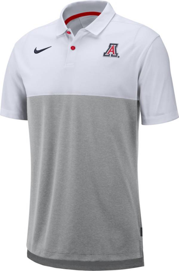 Nike Men's Arizona Wildcats White/Grey Dri-FIT Breathe Football Sideline Polo product image