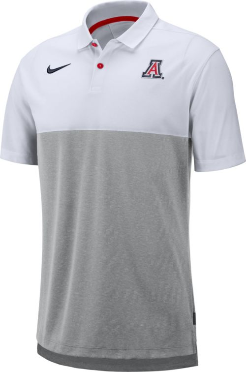 promo code 39470 c1cd7 Nike Men s Arizona Wildcats White Grey Dri-FIT Breathe Football Sideline  Polo. noImageFound. Previous