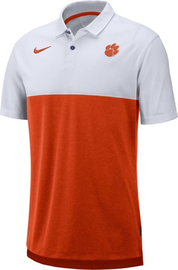 Nike Men's Clemson Tigers White/Orange Dri-FIT Breathe Football Sideline Polo product image