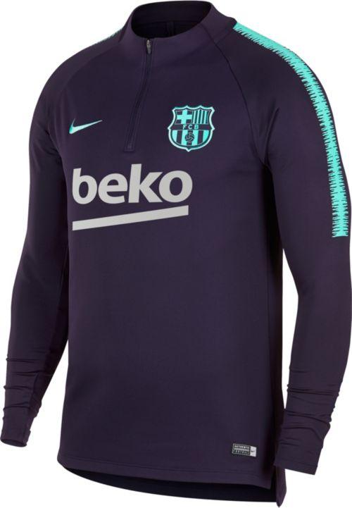 376980285 Nike Men s FC Barcelona Navy Quarter-Zip Pullover