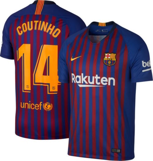 aaadc924b Nike Men s FC Barcelona Philippe Coutinho  14 2018 Breathe Stadium Home  Replica Jersey. noImageFound. Previous