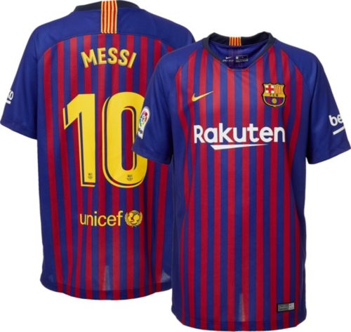 f54236bc343 Nike Men s FC Barcelona Lionel Messi  10 2018 Breathe Stadium Home Replica  Jersey. noImageFound. Previous