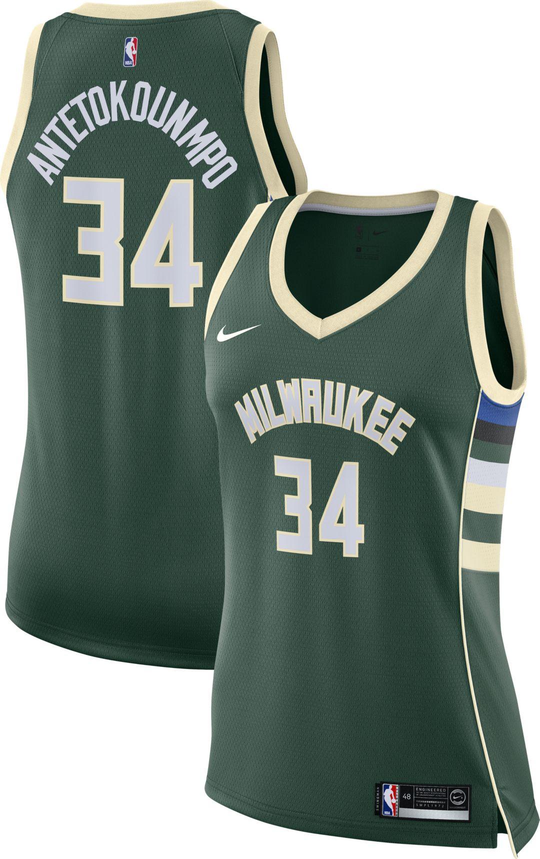online retailer 5cbdc ea9ab Nike Women's Milwaukee Bucks Giannis Antetokounmpo #34 Green Dri-FIT  Swingman Jersey