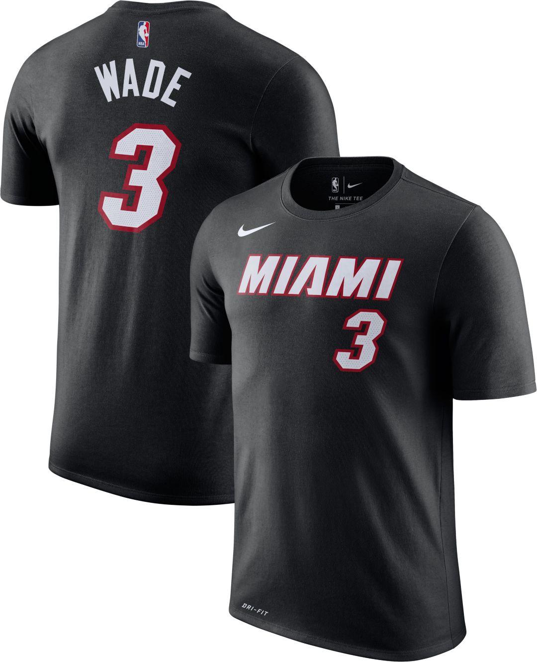 promo code b83d1 a6027 Nike Men s Miami Heat Dwyane Wade  3 Dri-FIT Black T-Shirt   DICK S ...