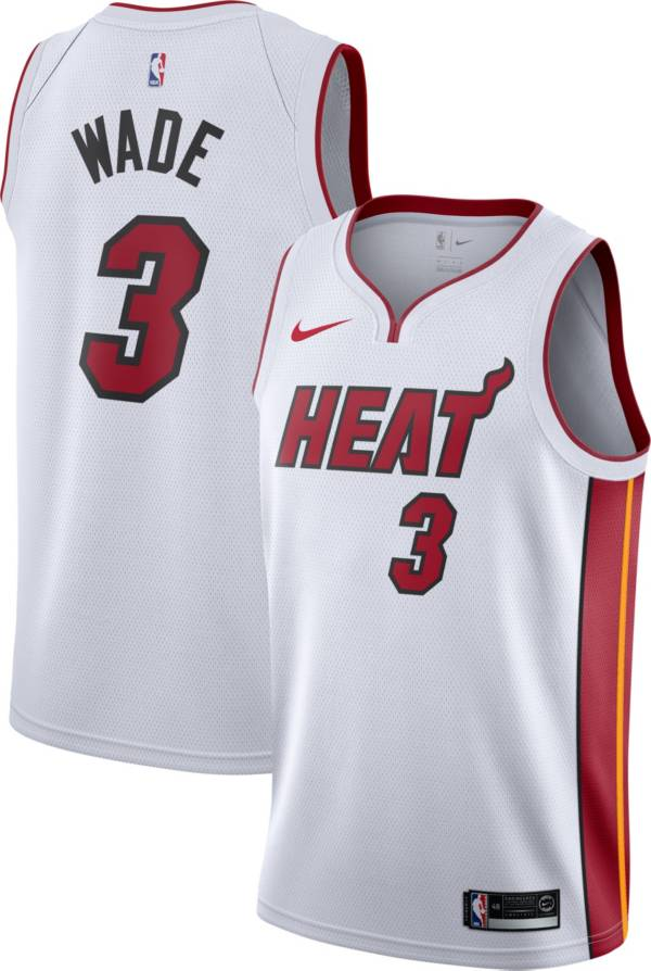 Nike Men's Miami Heat Dwyane Wade #3 White Dri-FIT Swingman Jersey product image