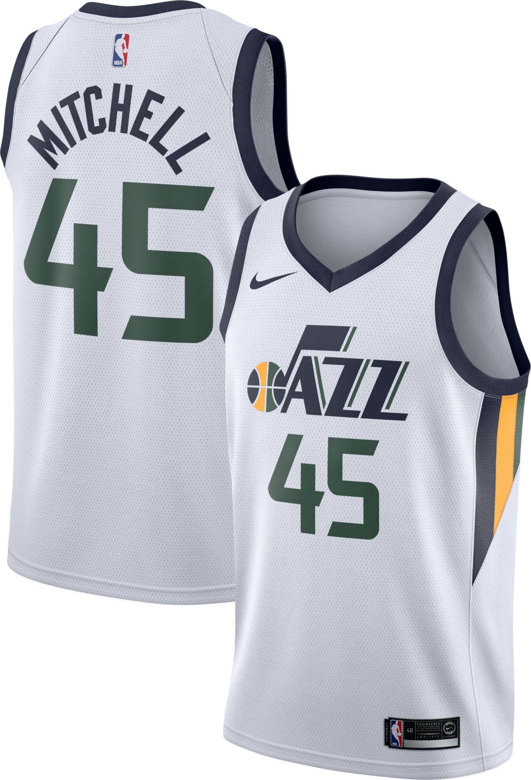 size 40 1a868 defe9 Nike Men's Utah Jazz Donovan Mitchell #45 White Dri-FIT Swingman Jersey