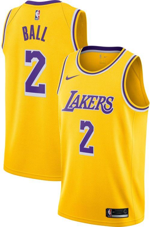 7bc0bbcd2c9 Nike Men s Los Angeles Lakers Lonzo Ball  2 Gold Dri-FIT Swingman Jersey.  noImageFound. Previous
