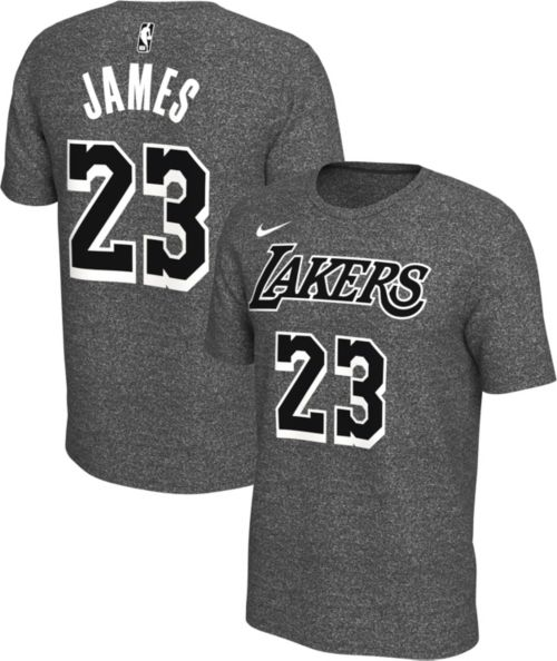 1004a09ee84 Nike Men s Los Angeles Lakers LeBron James  23 Dri-FIT Grey T-Shirt ...