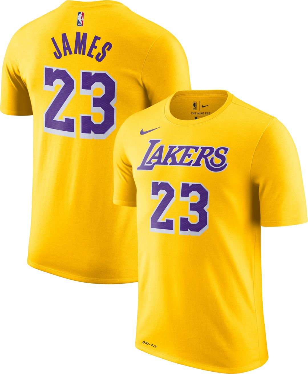 65024ced5418 Nike Men's Los Angeles Lakers LeBron James Dri-FIT Gold T-Shirt.  noImageFound. Previous