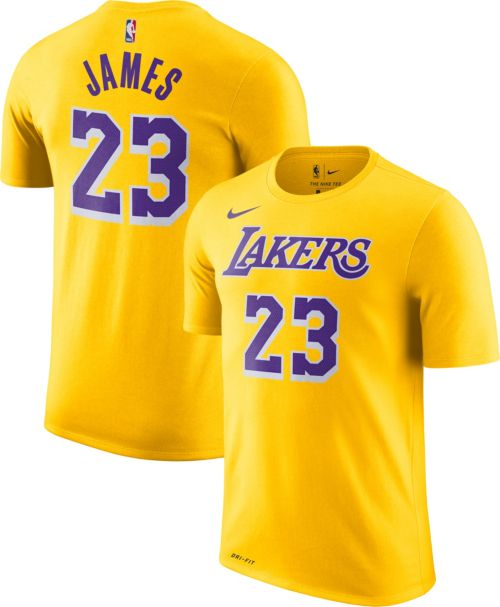 44acd83fd7dd Nike Men s Los Angeles Lakers LeBron James Dri-FIT Gold T-Shirt ...