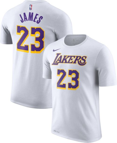 e9ada504514 Nike Men s Los Angeles Lakers LeBron James Dri-FIT White T-Shirt ...