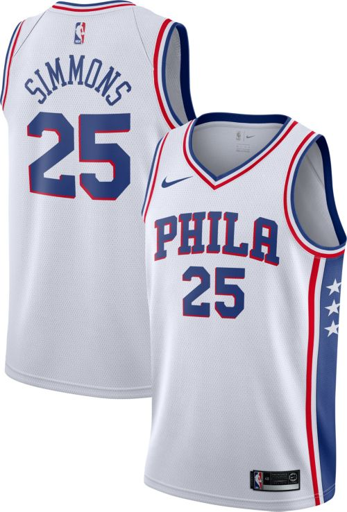 Nike Men s Philadelphia 76ers Ben Simmons  25 White Dri-FIT Swingman ... fa3ce47e5