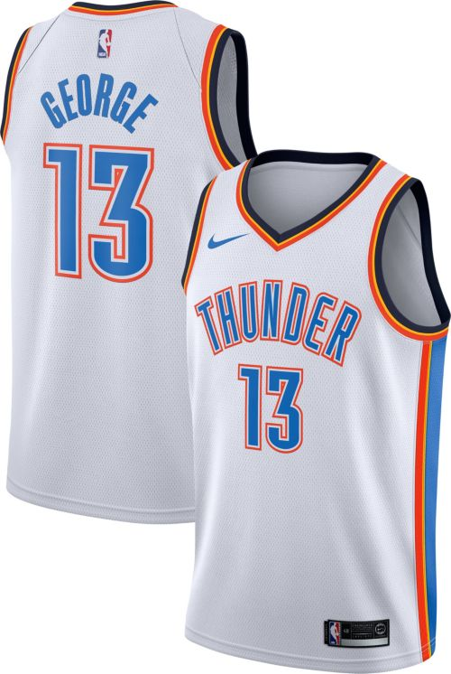 657746f0271 Nike Men s Oklahoma City Thunder Paul George  13 White Dri-FIT Swingman  Jersey. noImageFound. Previous