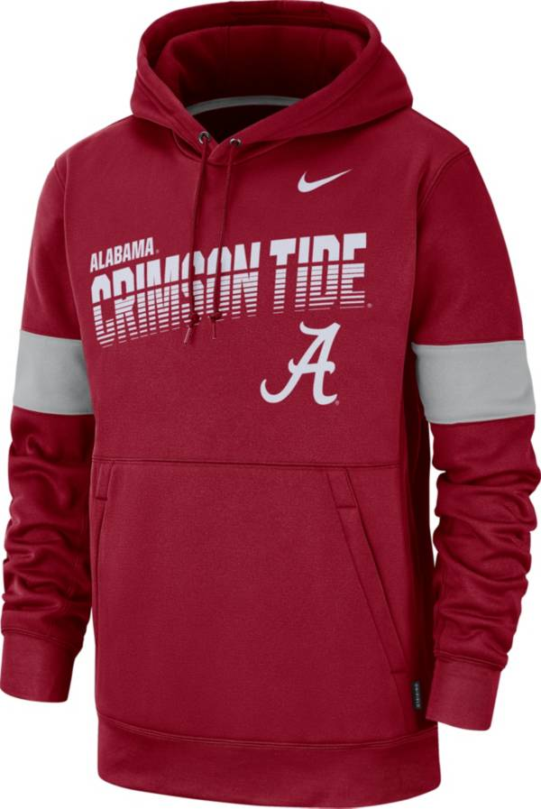 Nike Men's Alabama Crimson Tide Crimson Therma Football Sideline Pullover Hoodie product image
