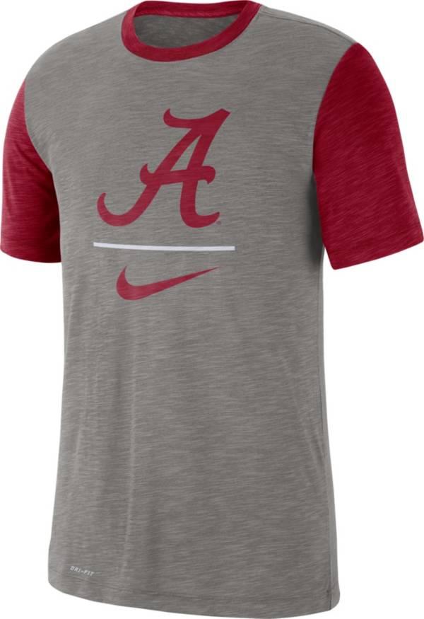 Nike Men's Alabama Crimson Tide Grey Dri-FIT Baseball Slub T-Shirt product image