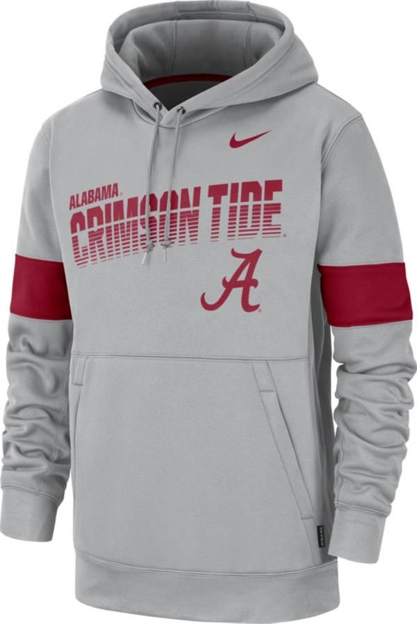 Nike Men's Alabama Crimson Tide Grey Therma Football Sideline Pullover Hoodie product image