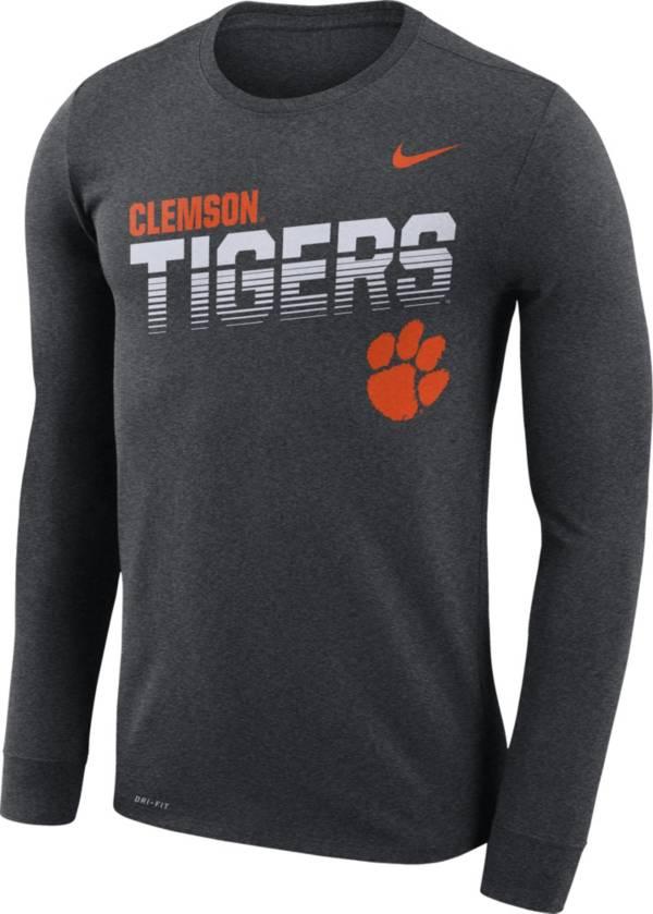 Nike Men's Clemson Tigers Grey Legend Football Sideline Long Sleeve T-Shirt product image