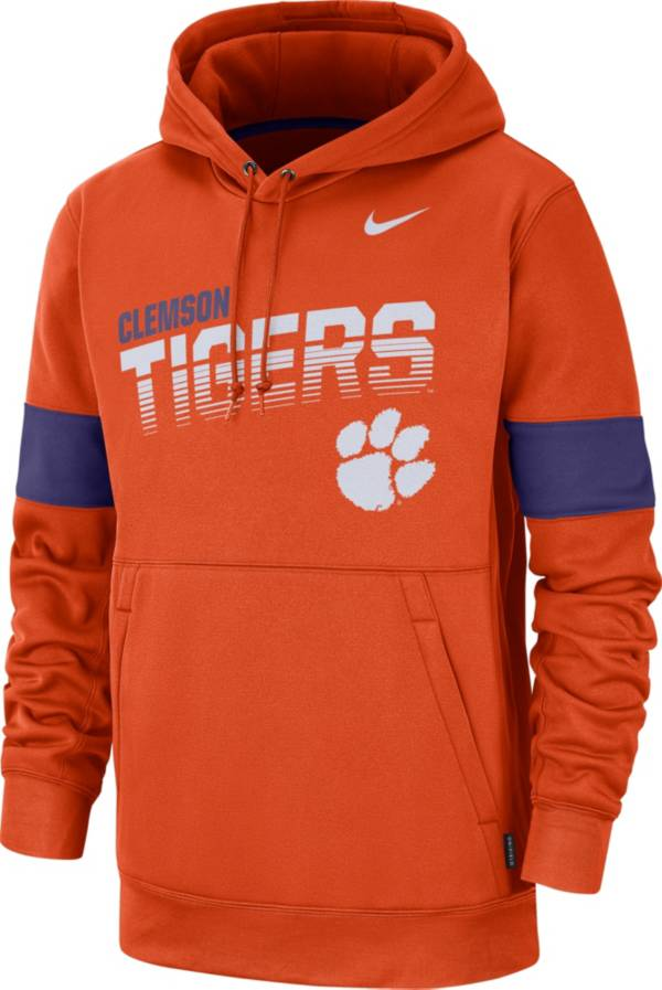 Nike Men's Clemson Tigers Orange Therma Football Sideline Pullover Hoodie product image